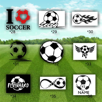 SOCCER vinyl decals - vinyl stickers - decal - personalized vinyl decal - #28-36 - custom car window stickers