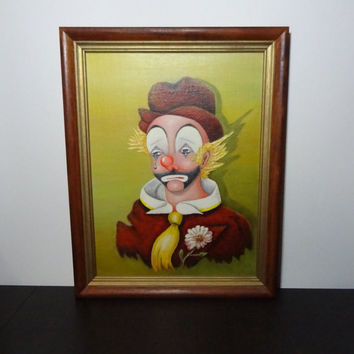 Vintage Original Framed Sad Clown Painting - by Mary Zawinski - Acrylic - Canvas on Masonite