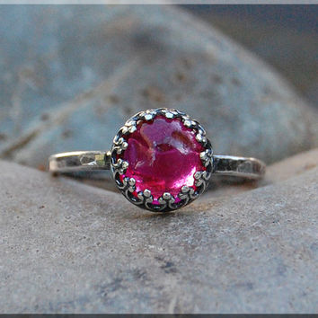 Ruby Ring, Ruby Gemstone Cocktail Ring, Crown Bezel Set Ruby Ring, Sterling Silver Ruby Ring, Flawless Ruby Engagement Ring