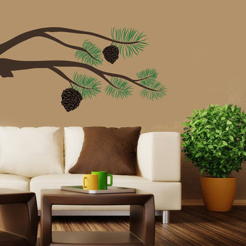 Pine Tree Branch Wall Decal | Tree Wall Sticker | Nature Decor | Tree Vinyl Wall Decal | Pine Cones