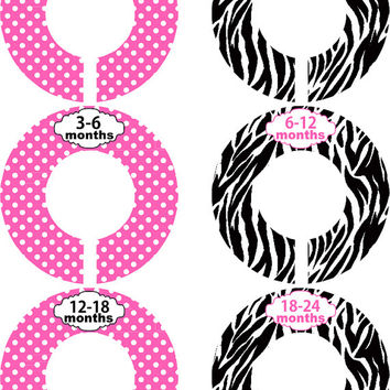 Custom Baby Closet Dividers Pink and Black Closet Dividers Baby Shower Gift Baby Clothes Organizers Baby