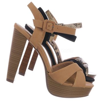 Rancho Stack Block Heel Platform Sandal - Women Quarter Strap Dress Shoes