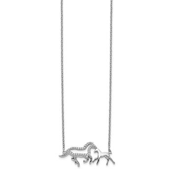 14k White Gold Diamond Mom and Baby Horse Necklace