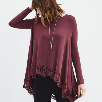 Cecico: Lace Border Tunic in Wine