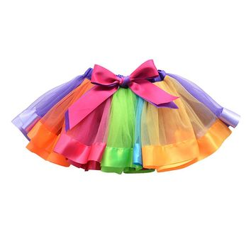 Girls Layered Rainbow Tutu Skirt Ruffle Tiered Dance Performance Dress for Girls
