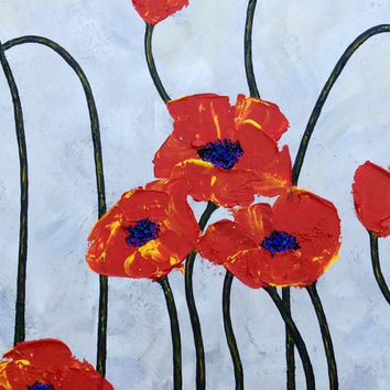 "Painting Modern Abstract Art Impasto Landscape Red Poppies on Silver Grey Canvas Art by Judith Yabut 36""x24""X1.5""-Ready to Ship"