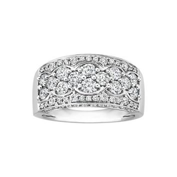 JewelMore Diamond Wedding Band (1.50 cttw G-H-I/ I1-I2) 14K White Gold