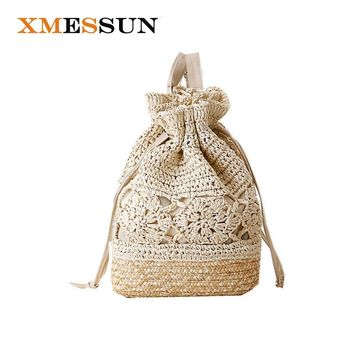 Summer Crochet Drawstring Beach Backpacks Floral Hollow Out Straw Bags Handmade Knitted Bucket Design Women Girls Travel Bag C60
