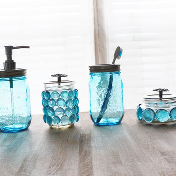 Delicieux Blue Mason Jar Soap Dispenser Set With Toothbrush Holder/Caddy, Q Tip Holder