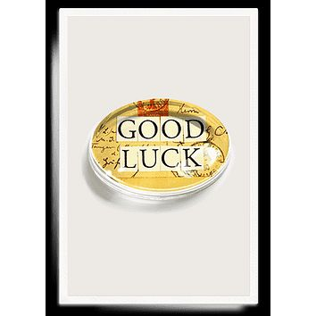 Good Luck Crystal Oval Paperweight