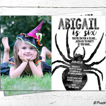 Spider Birthday Invitation // Personalized Printable Spider Birthday Invitation // Spider Invitation // Halloween Invitation //Creepy invite