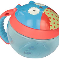 Skip Hop Baby Zoo Little Kid and Toddler Snack Cup with Snap Top Lid and No Spill Opening, Holds 24 oz / 700 mL, Multi Otis Owl