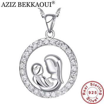 AZIZ BEKKAOUI Maternal Love Round Pendant fit Necklace 925 Sterling Silver mom&baby Shape Pendants for Necklace Gift for Mother