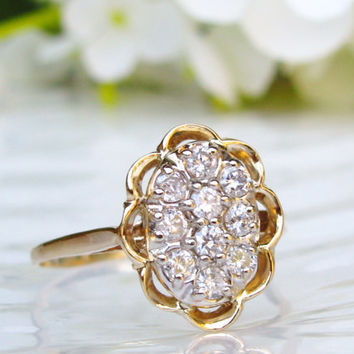 Vintage Engagement Ring 0.50ctw Diamond Cluster Ring 14K Gold Diamond Wedding Ring Unique Cocktail Ring Bridal Jewelry!
