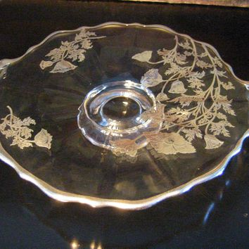 Duncan Miller Glass Elegant Round Serving Tray Floral Silver Overlay Round