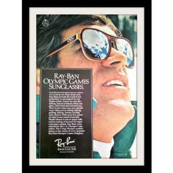 1975 Ray Ban Sunglasses Ad Olympic Games Vintage Advertisement Print
