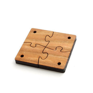 Wood Puzzle Piece Beads - Four Pieces Laser Cut from Sustainable Harvest Wisconsin Wood . Timber Green Woods