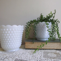 Vintage Hobnail Planter Pots / Fire King White Milk Glass Pots Set of 2 / Wedding Decor Centerpiece / Shabby Cottage Chic