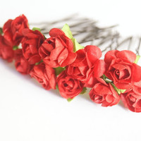 Bridal Hair Accessories, red Rose, RED flower Hair Bobby Pin, Brass Bobby pin- set 12