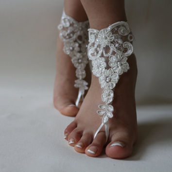 FREE SHİP Beach Wedding Barefoot Sandals, Nude shoes, ,Wedding Anklet, Beach Wedding Brefoot Sandals Belly Dance Foot Jewelry