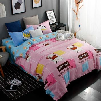 New Printed Cute Pug Bedding Sets Bed Sheet Quilt Duvet Cover Pillowcase  Excellent Imitation Cotton Queen Full