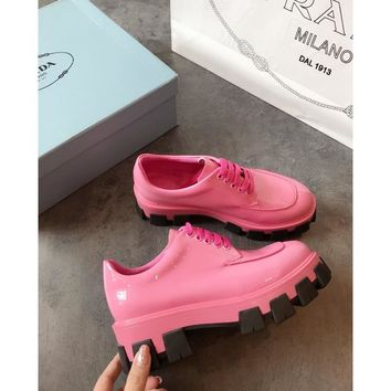 Prada Pink Monolith Patent Leather Derby Shoes - Best Online Sale