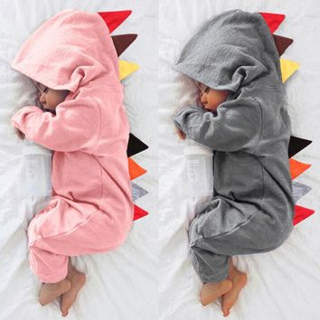 Newborn Baby Boys Girls Dinosaur Zipper Hooded Romper Jumpsuit Outfits Clothes cut vetement bebe Cartoon clothing