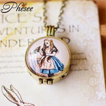 Phesee Retro Alice in Wonderland Element  Rabbit Cat Necklaces & Pendants Can As Essential Oil Diffuser Accessories for Women