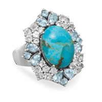 Turquoise and Topaz Ring