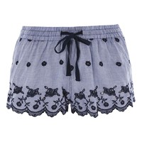 Gingham Embroidered Pyjama Shorts - Lingerie & Sleepwear - Clothing
