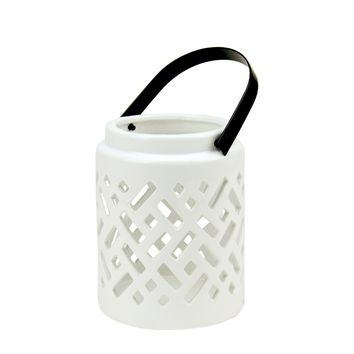 "10"" Seaside Treasures Decorative White Ceramic Cutwork Candle Holder Lantern"
