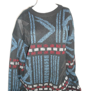 EVERYTHING ON SALE Beautiful Warm Winter Sweater 80s  Abstract  leather