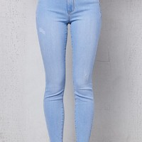 PacSun Cleo Blue Ankle Jeggings at PacSun.com