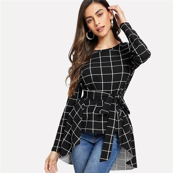 Black Workwear Casual Self Belted Asymmetrical Hem Round Neck Long Sleeve Blouse Office Lady Women Tops And Blouses