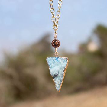 Blue Crystal Druzy + Crescent Moon and Stars Charm Necklace // Geometric Bohemian Layered Necklace // Bridesmaid Jewelry - Bridal Jewelry