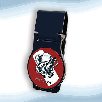 Diver Skull Red Money Clip Round