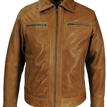 Mens Cameron Leather Jacket Honey Brown