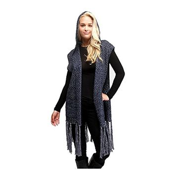 Beatnix Fashions Navy Hooded Fringe Tassel Vest With Pockets