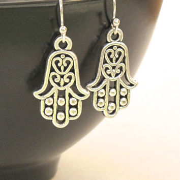 Silver Hamsa Hand Earrings, Protective Jewelry, Hamsa Hand Amulet, Good Luck Earrings