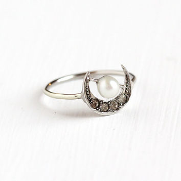 Antique Sterling Silver Crescent Moon Ring - Vintage Edwardian Early 1900s Stick Pin Luna Conversion, Rhinestone & Pearl Celestial Jewelry