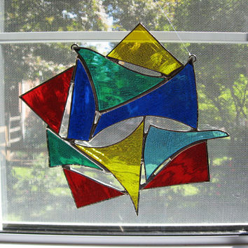 Star Abstract Stained Glass Suncatcher - Christmas Suncatcher - Rainbow Glass - Abstract Art