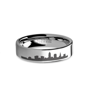 Cleveland City Skyline Cityscape Laser Engraved Tungsten Ring