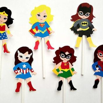 DCK9M2 Girl Superhero  Cupcake Toppers   Birthday  Party Decorations Party Supplies Birthday Party Decorations Kids