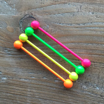 1.6mm/14ga.-candy pink/orange/green/yellow Industrial Barbell-Body jewellery-summer jewelry