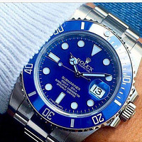 Rolex Submariner Ladies Men WatchStainless Steel Watch Silver blue