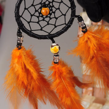 Keychain Dreamcatcher Orange handmade Dreamcatcher DreamCatcher Dreamcatchers Christmas present Keychain Orange agate Keychain Dreamcatcher