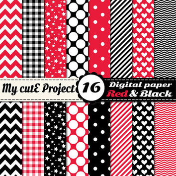 Red and black - Digital paper pack - Scrapbooking & graphic design - 12x12 - A4 - Polka dots, heart, chevron, stripes, gingham, stars