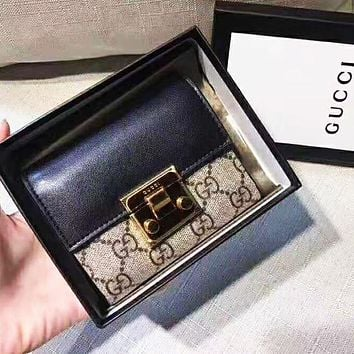 GUCCI High Quality Women Leather Buckle Wallet Purse