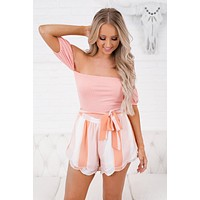 Sweet Stuff Striped Shorts (Peach/Blush)