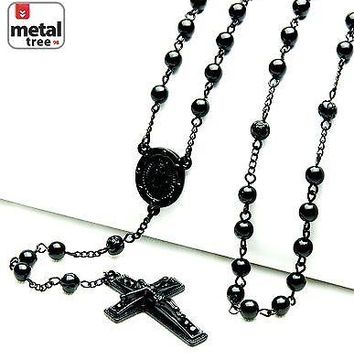 "Jewelry Kay style NEW Hip Hop Royal Black Bead Guadalupe Jesus Cross 28"" Rosary Necklace HR 600 BK"